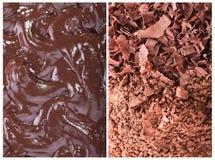 Chocolate rallado, cacao, crema Fotografía de archivo