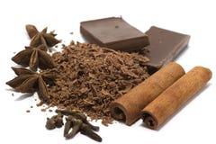 Chocolate rallado con las especias foto de archivo libre de regalías