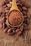 Chocolate rallado 100% de la oscuridad en cuchara en el chocolate asado del cacao Imagen de archivo libre de regalías