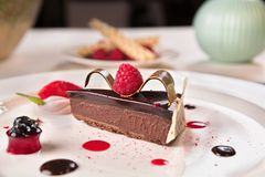 Chocolate and raspberries palette, served in a white plate royalty free stock photography