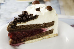Chocolate and raspberry cake. With cranberries, dessert in restaurant Stock Images