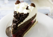 Chocolate and raspberry cake. With cranberries, dessert in restaurant Stock Image