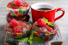 Chocolate raspberry cakes Royalty Free Stock Images