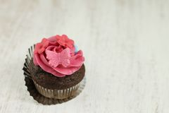 Chocolate and raspberry cupcake Stock Photography