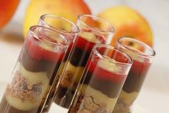 Chocolate raspberry dessert glasses. Delicious chocolate and raspberry dessert Royalty Free Stock Photography