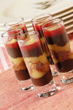 Chocolate raspberry dessert glasses Stock Photos