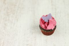 Chocolate and raspberry mini cupcake Royalty Free Stock Images