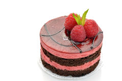 Chocolate and raspberry mousse cake Royalty Free Stock Photos