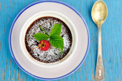 Chocolate raspberry pudding Royalty Free Stock Image