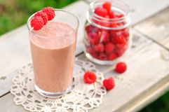Chocolate Raspberry Smoothie. In a Glass Stock Image