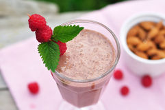 Chocolate Raspberry Smoothie. In a Glass Stock Photo