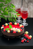 Chocolate raspberry tart Royalty Free Stock Image