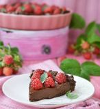 Chocolate and raspberry tart Stock Image