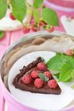 Chocolate and raspberry tart Royalty Free Stock Images
