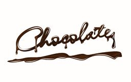 Chocolate. Realistic chocolate bar lettering, with drops and splash. Isolated on white background. stock illustration