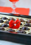 Chocolate with a red heart Stock Photo