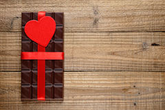 Chocolate with red heart Stock Photo