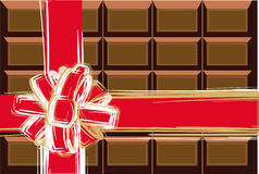 Chocolate and red ribbon Stock Images