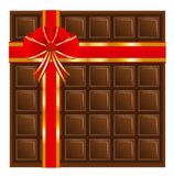 Chocolate with a red ribbon, background for a design Royalty Free Stock Image