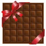 Chocolate with a red ribbon, background for a design Stock Photos