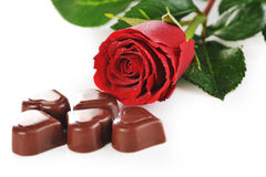 Chocolate and red rose Stock Photos