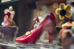 Chocolate red shoe in french bakery. Royalty Free Stock Image