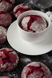 Chocolate 'Red velvet crincles' cookies in powdered sugar Royalty Free Stock Photography