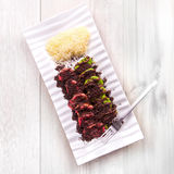 Chocolate red velvet and green tea small pancake with oreo, chocolate ganache and cheese. On rustic white wood background Stock Images