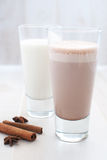 Chocolate and regular milk Royalty Free Stock Photography