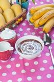 Hot champorado or sweet chocolate rice porridge Stock Images