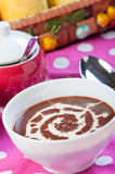 Hot champorado or sweet chocolate rice porridge Royalty Free Stock Image