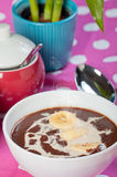 Hot champorado or sweet chocolate rice porridge Royalty Free Stock Photos