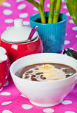 Hot champorado or sweet chocolate rice porridge Royalty Free Stock Photos
