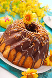 Chocolate ring cake for easter. Chocolate ring cake with nuts for easter Royalty Free Stock Image