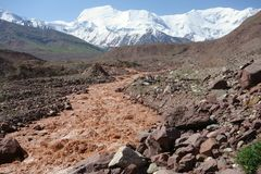Chocolate River east Kuzulsu. North Pamir. Royalty Free Stock Images