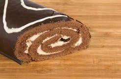 Chocolate roll cake Stock Photos