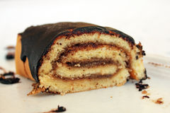 Chocolate roll cake Royalty Free Stock Image