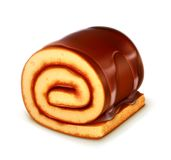 Chocolate roll cake. Vector illustration,  on white background Stock Image