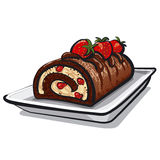 Chocolate Roll Cake With Strawberry Stock Photography
