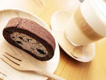 Chocolate roll and Coffee Royalty Free Stock Photography