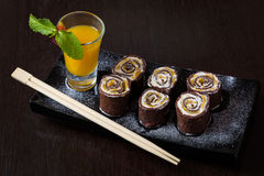 Chocolate roll Stock Photos