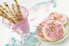 Chocolate Rolled Wafers and Sugar Cookies Royalty Free Stock Images