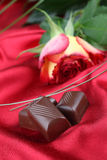 Chocolate and rose Royalty Free Stock Photo