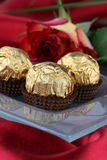Chocolate and rose Royalty Free Stock Images