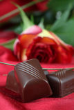 Chocolate and rose Royalty Free Stock Photography