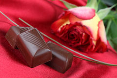 Chocolate and rose Stock Photography