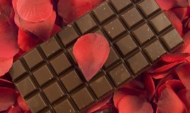 Chocolate with rose petals royalty free stock images