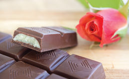 Chocolate and Rose Stock Images