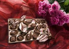 Chocolate & Roses Stock Photography