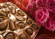 Chocolate & Roses Royalty Free Stock Photos